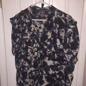 Dots Black & Grey Belted Camo Style Dress 3X